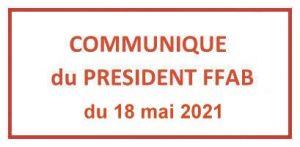 Communiqué du président FFAB du 18 mai 2021