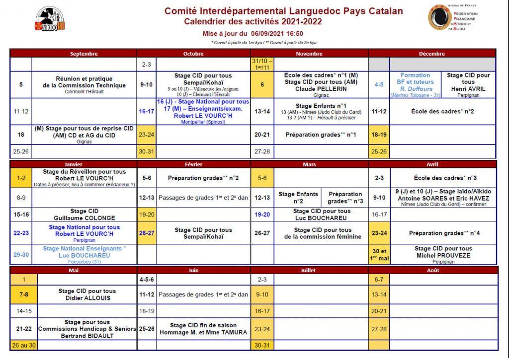 Calendrier CID LPC saison 2021/2022